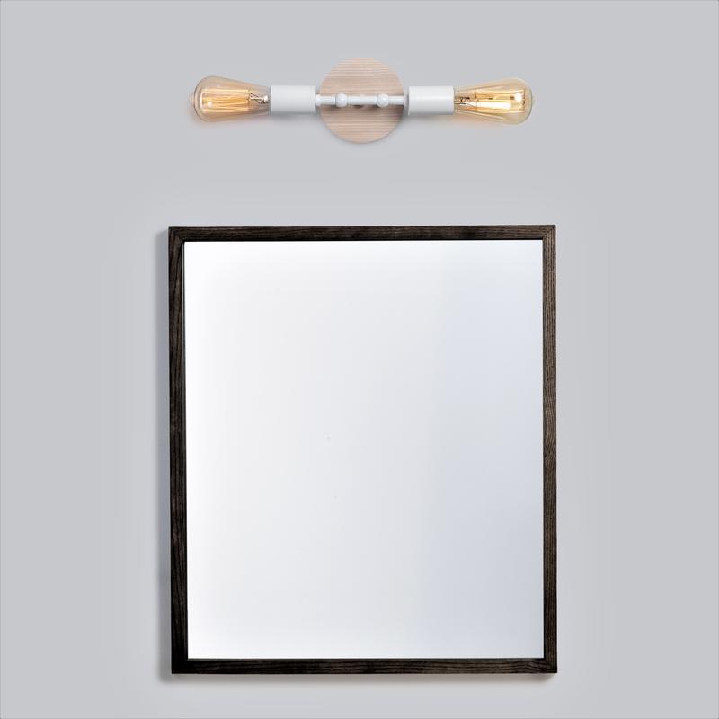 Бра белый настенный светильник Planet 2 в стиле лофт, металл и ясень