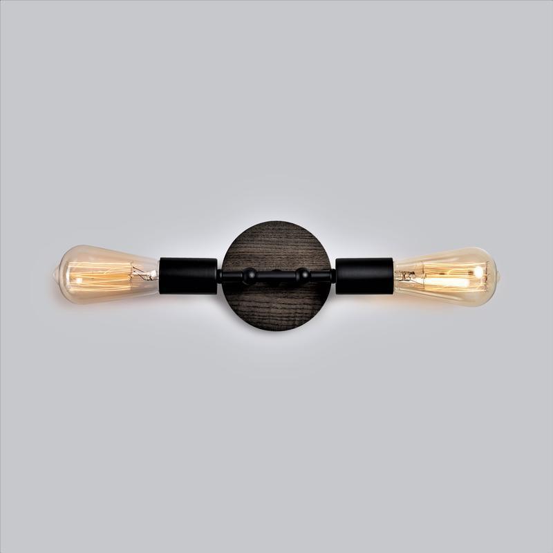 Бра черный настенный светильник Planet 2 в стиле лофт, металл и ясень