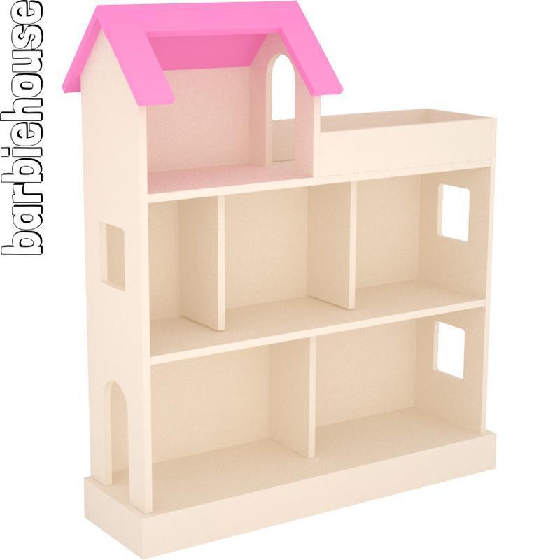 Большой дом-особняк для кукол (с розовой крышей)