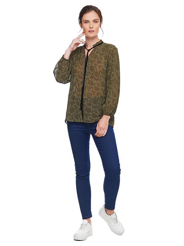 Блуза шифоновая с лентой, зеленый принт