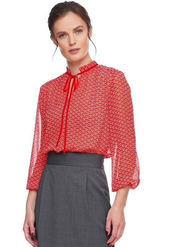 Блуза шифоновая с лентой, красная.