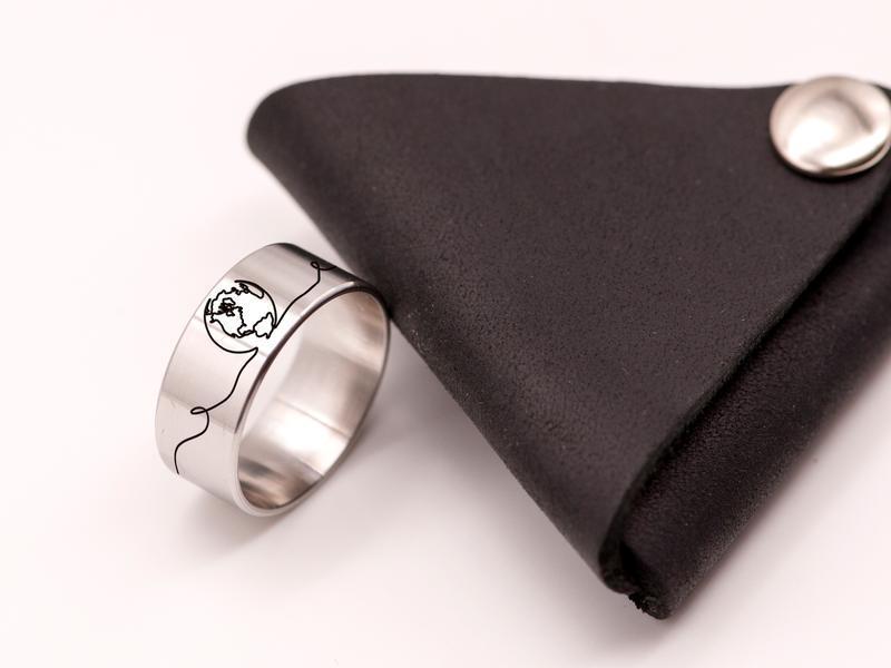Стальное кольцо на большой палец с гравировкой в стиле one line планета
