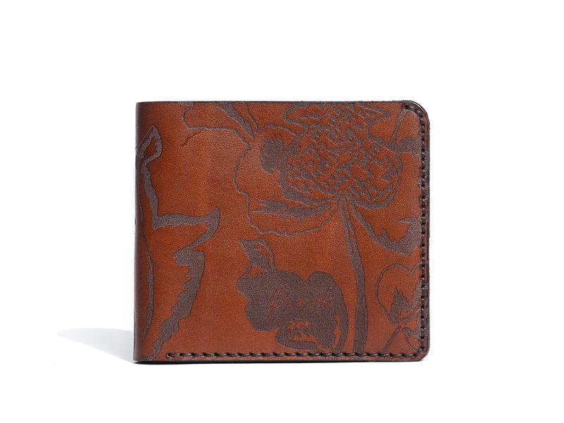 Коричневе портмоне Franko Kozak flowers brown Medium wallet з натуральної шкіри