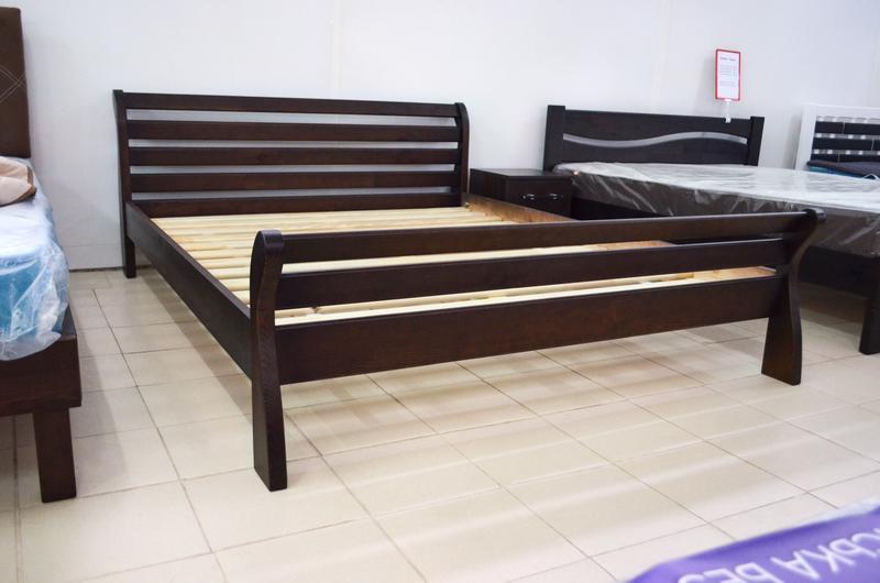 Кровать Деревянная Двуспальная Аркадия 180х200см. массив Сосны цвет Темный Орех