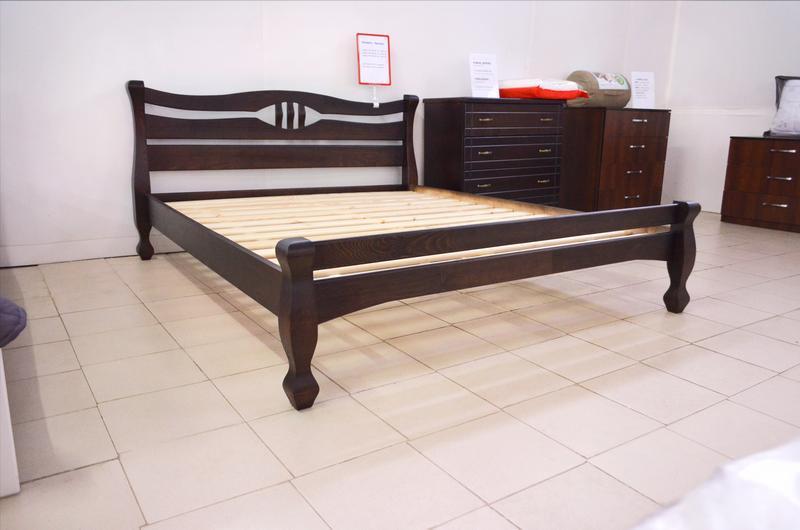 Кровать Деревянная Двуспальная Кронос 160х200см. массив Сосны цвет Темный Орех