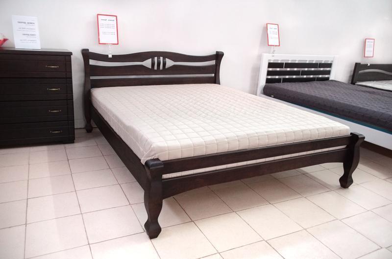 Кровать Деревянная Двуспальная Кронос 180х200см. массив Сосны цвет Темный Орех