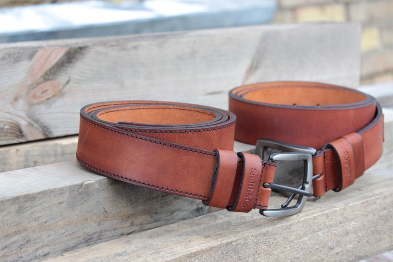Ремень мужской, кожаный. Кожаный ремень ручной работы студии Smith&Co. Джинсовый ремень