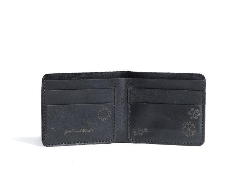 Чорне шкіряне портмоне Franko Trypillya black Small wallet