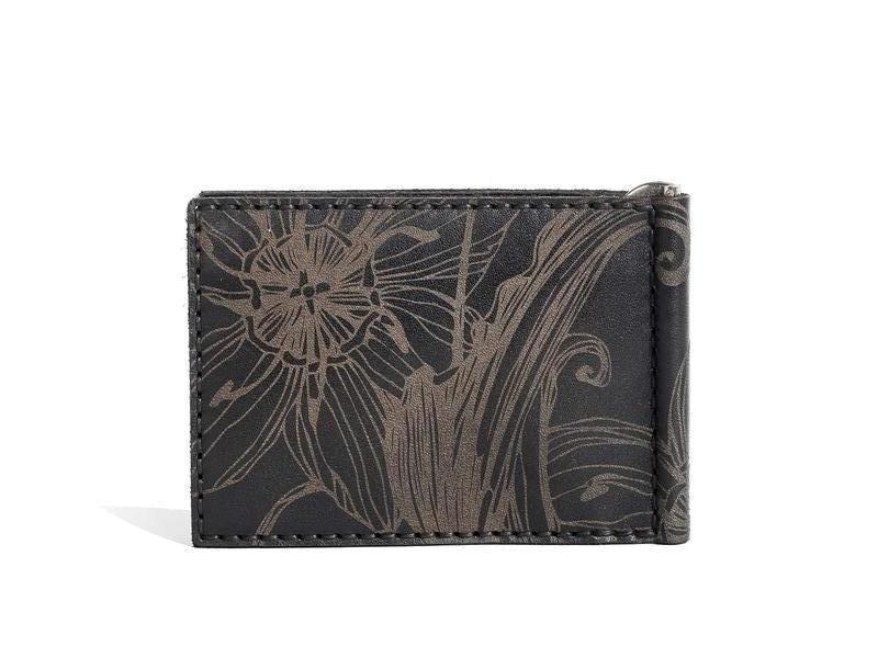 Чорне портмоне Franko Nata flowers black Small Money clip wallet із зажимом для грошей