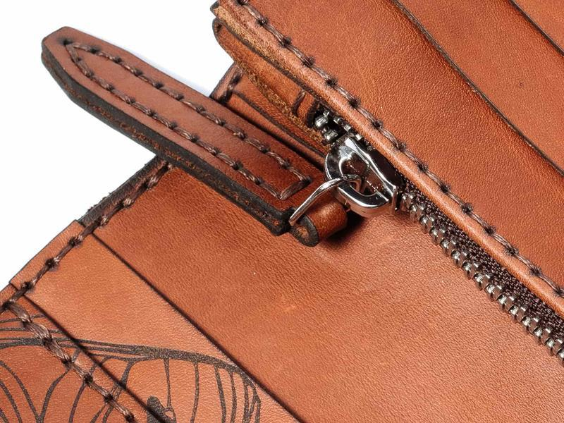 Женское коричневое большое кожаное портмоне Franko Nata flowers brown Big Zippy wallet на молнии