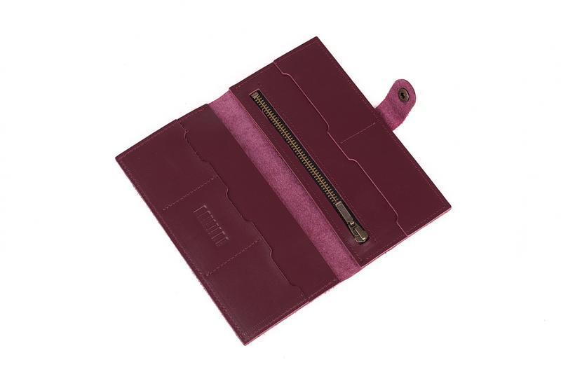 Портмоне кошелек из натуральной кожи марсала