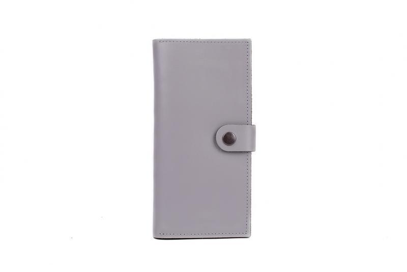 Портмоне кошелек из натуральной кожи серый