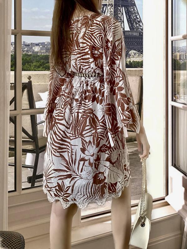 Летнее платье туника шоколад оригинальный летящий рукав кейп lacrecci