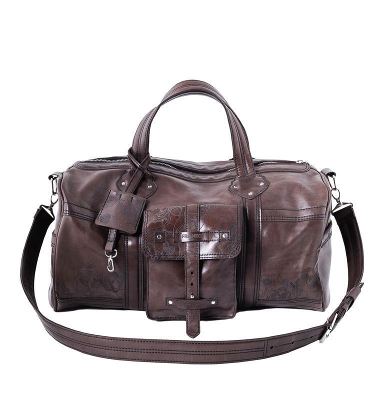 Шкіряна спортивна сумка Franko Kozak flowers brown Road bag на блискавці