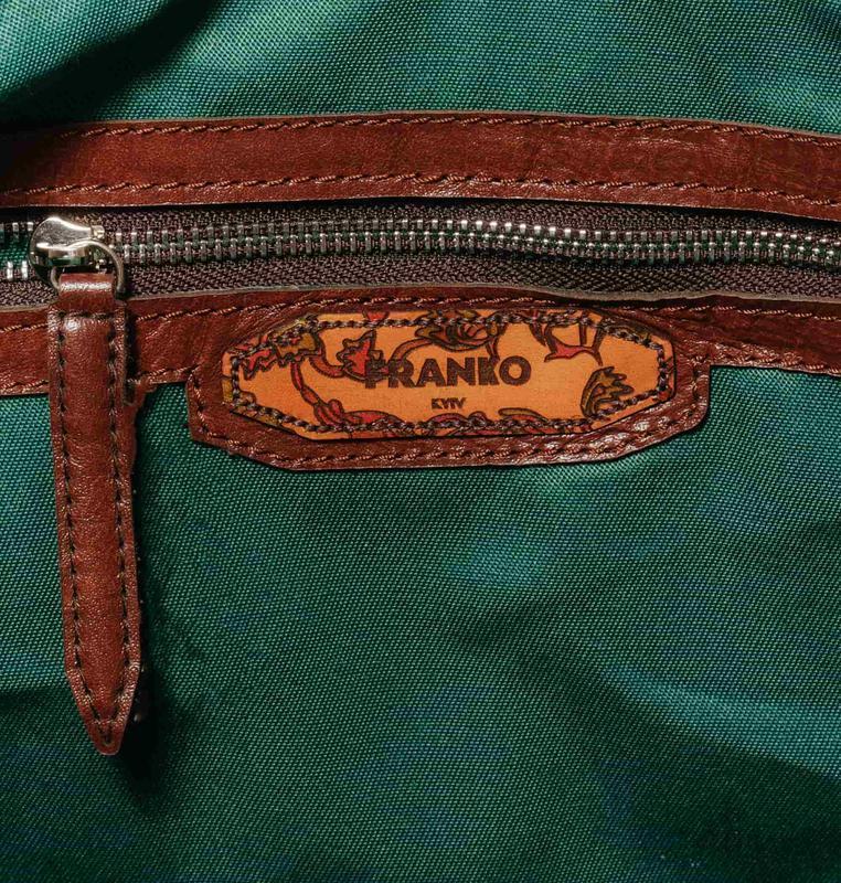 Кожаная спортивная сумка Franko Flowers pattern brown Road bag с принтом