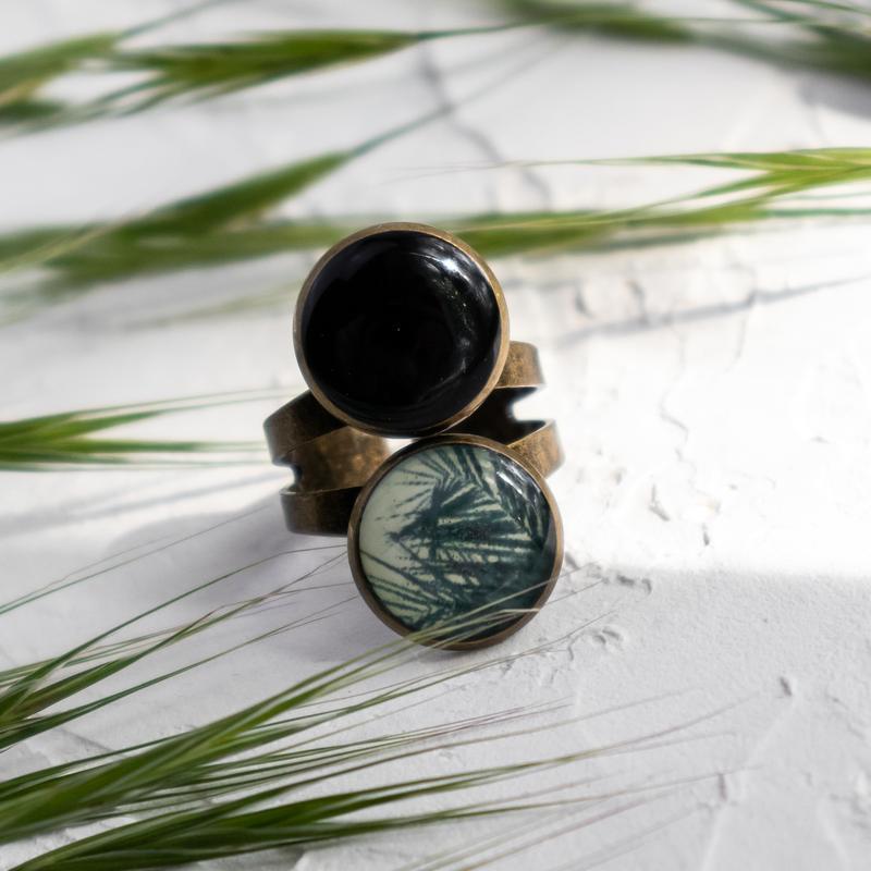 Стильное двойное кольцо с принтом