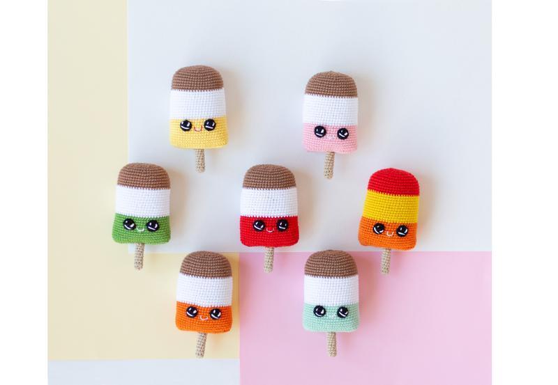 Вязаное мороженое на палочке (фисташка,ваниль,шоколад) , игрушка крючком, амигуруми