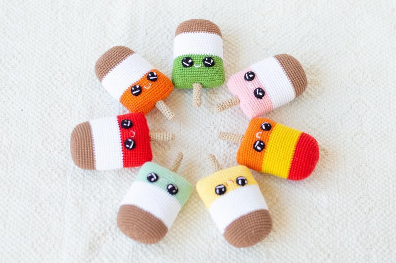 Вязаная игрушка мороженое (мята, ваниль,шоколад) на палочке ,амигуруми, сладости вязаные крючком