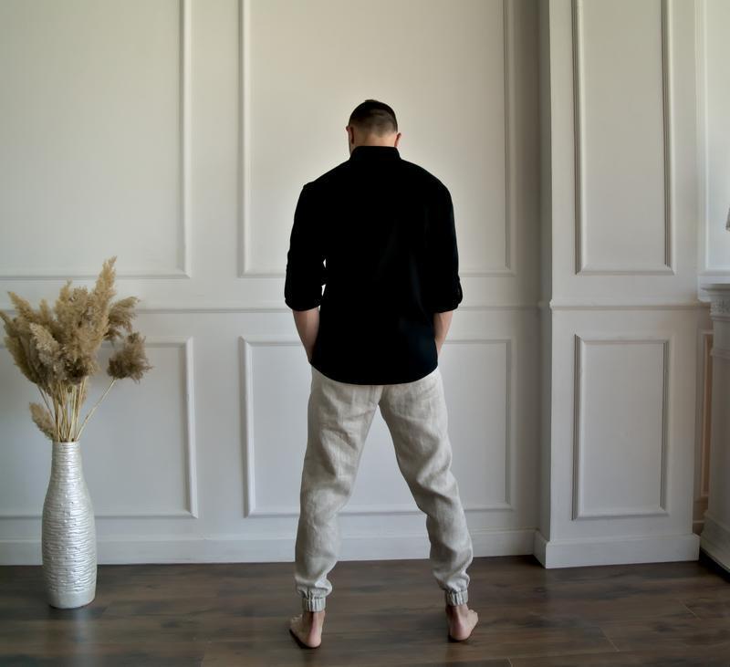 Мужские летние брюки из натурального льна MEN LINEN TAPERED PANTS
