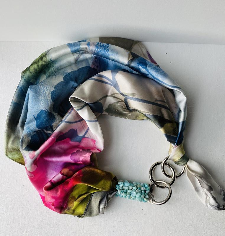"""100% шелк, шелковый платок, шарф, шарф-колье, шейный платок """"Розовая жемчужина"""" , подарок женщине"""