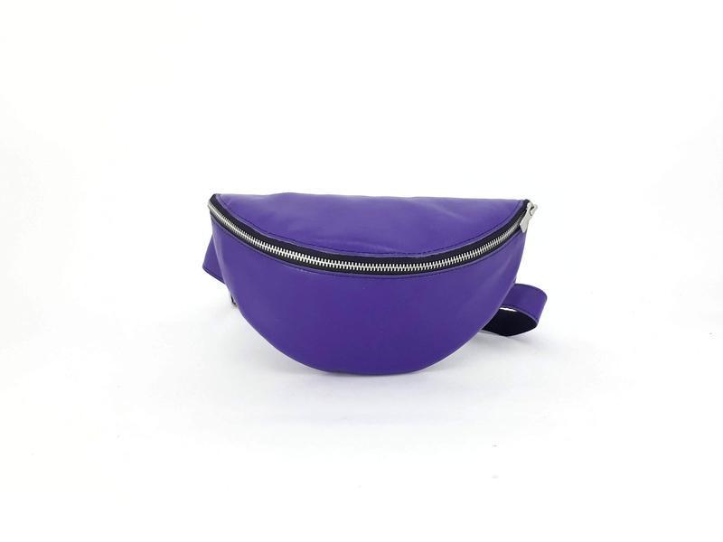 """Кожаная сумка - бананка на пояс """"Чили"""" (фиолетовый)"""
