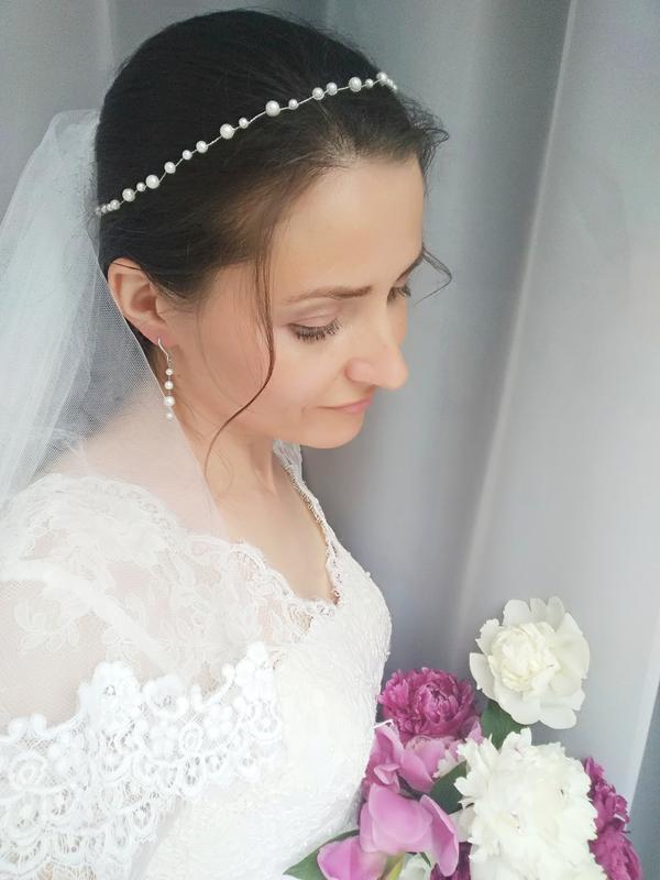 """Свадебный комплект: венок для волос (веточка для невесты) и серьги """"Lisa"""""""