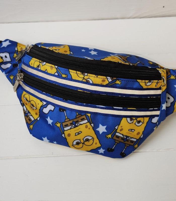 Сумка-бананка с губкой Боб, поясная, нагрудная сумка SPUNCH BOB, барсетка на пояс  унисекс
