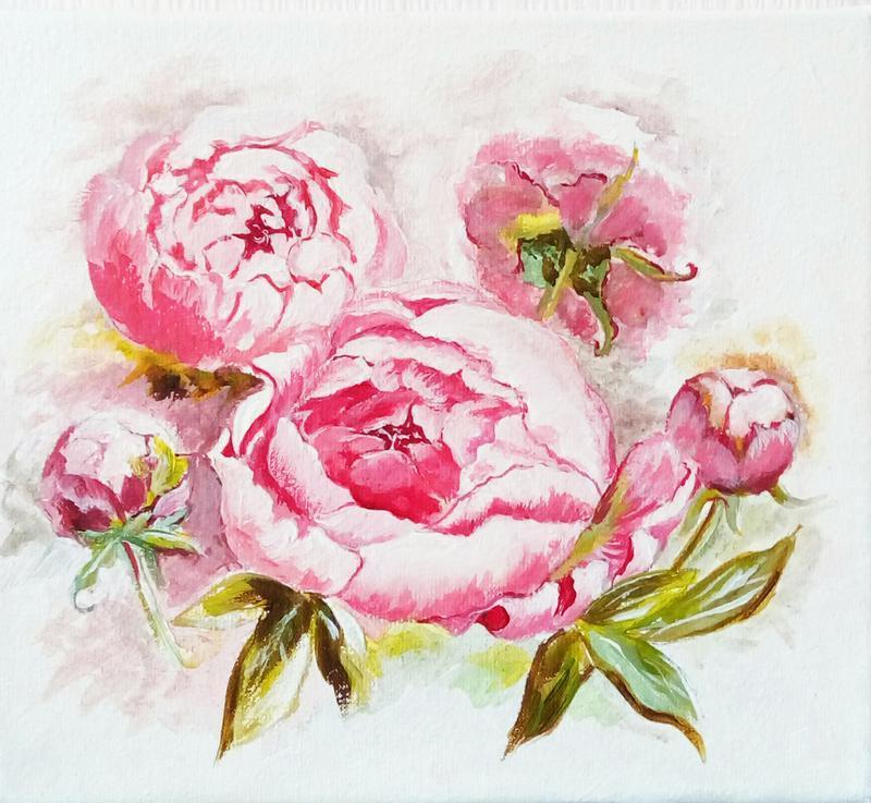 Картина акрилом Розовые пионы, холст на подрамнике