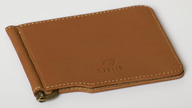 Кожаный зажим для денег Stenk Moneyclip с двумя отделениями для карт исключительный подарок