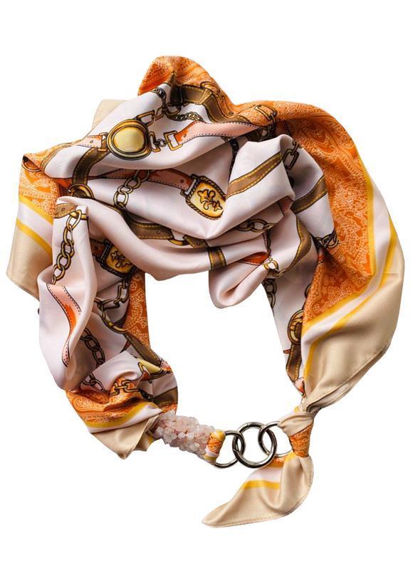 """Атласный платок """"Золотой берег"""" my scarf, шейный платок, подарок женщине"""