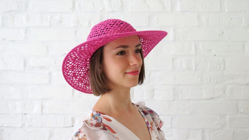 Шляпка вязаная ажурная с широкими полями, хлопковая шляпа для пляжа, летняя панама от солнца женская