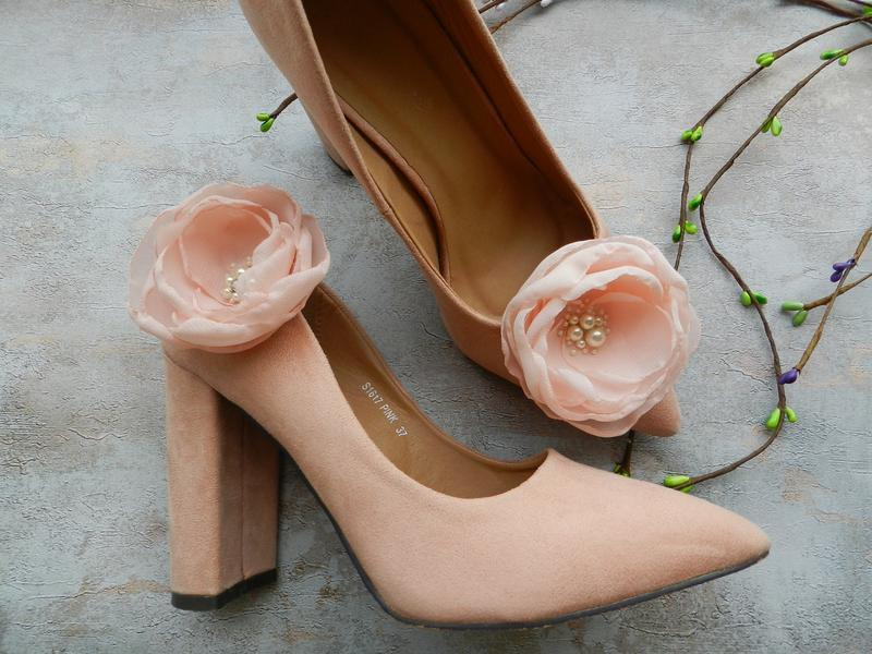 Кліпси для взуття з квітами , квітковий декор для взуття , взуттєві кліпси