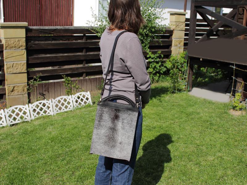 Повседневная кожаная женская сумка, Сумка из шкуры коровы и кожи, серая кожаная сумка