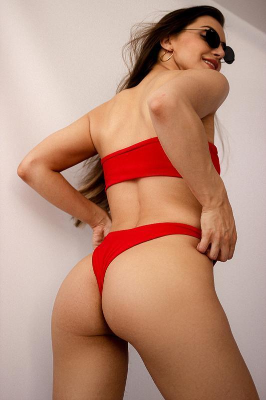 Красный женский купальник - Бандо 2020, красный раздельный купальник