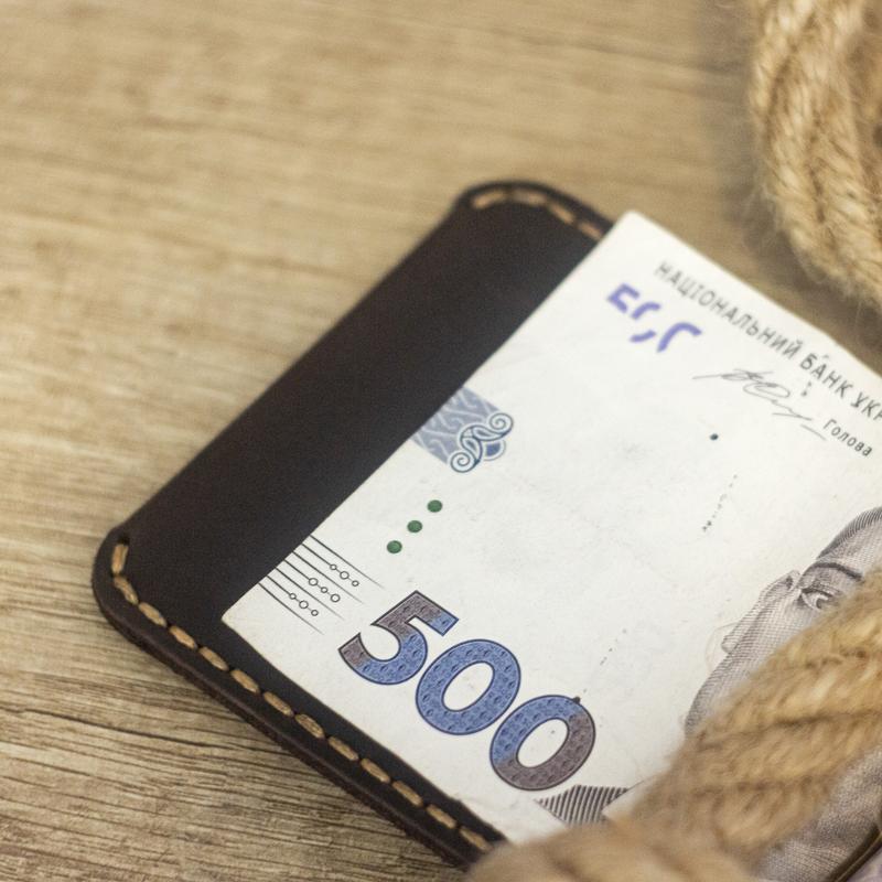 Тонкий кожаный Кошелёк, Портмоне - Зажим для денег (Натуральная кожа, Италия)