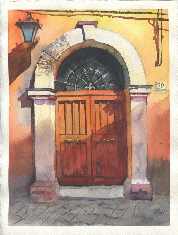 Акварель старинные двери в Италии