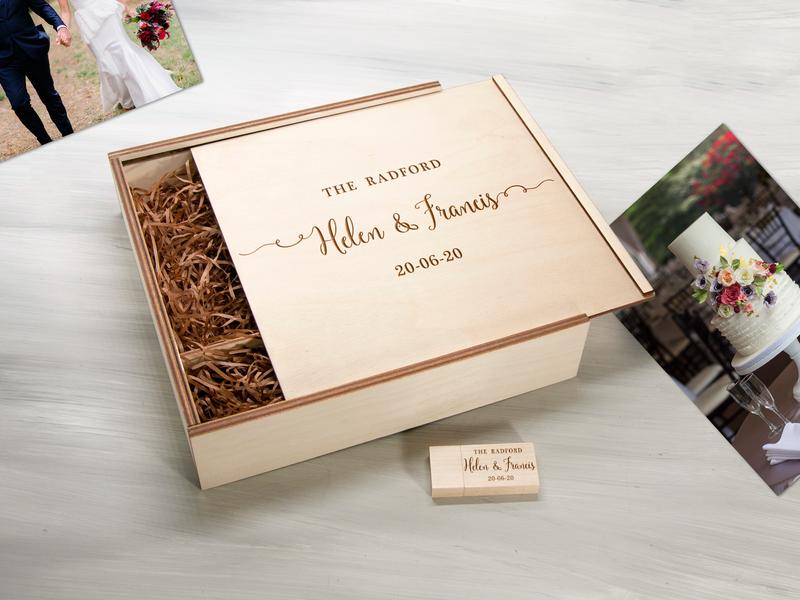 Именная коробка из фанеры для фотографий и флешки с гравировкой