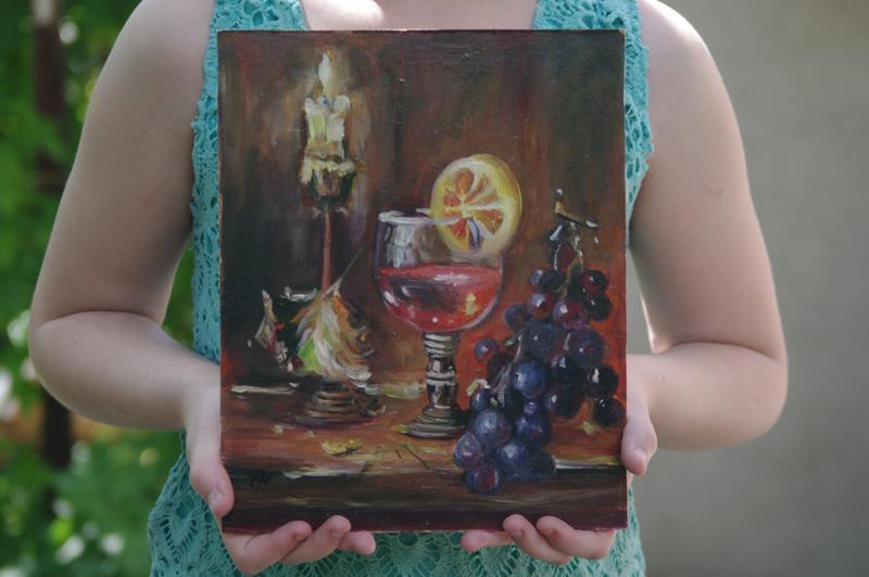 оригинальная картина маслом натюрморт виноград и вино
