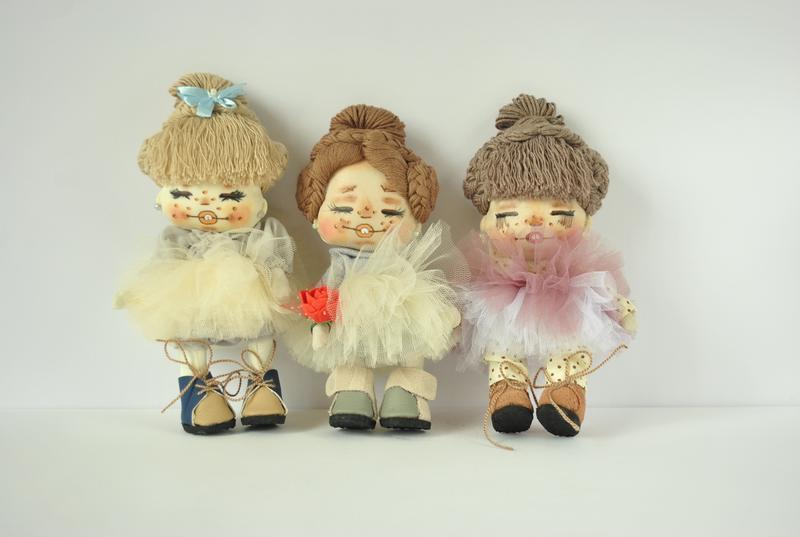 Кукла текстильная интерьерная с розой