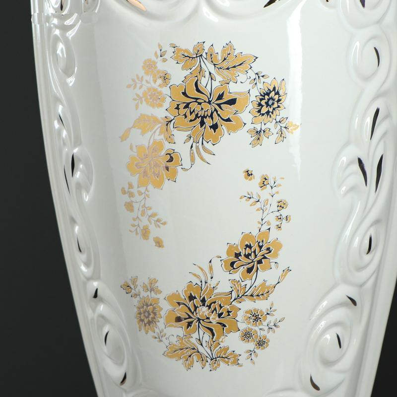 Ваза керамическая Веста белая с деколью 70 см