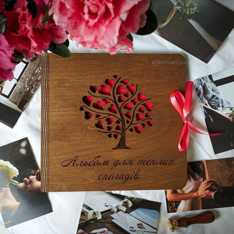 Фотоальбом из дерева - подарок для любимого человека на годовщину, день рождения | деревянный альбом