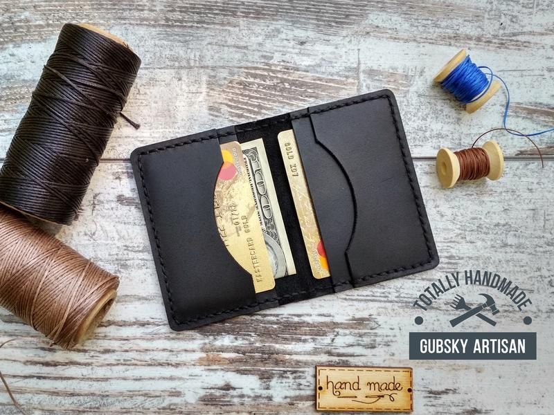 Кошелек картхолдер чёрный кредитница из натуральной кожи краст