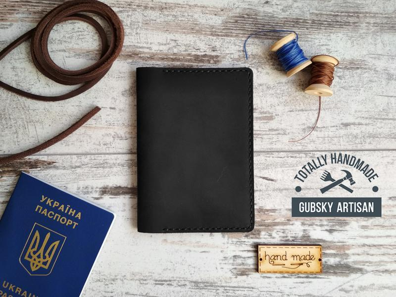 Обложка для паспорта чёрная чехол для документов из кожи