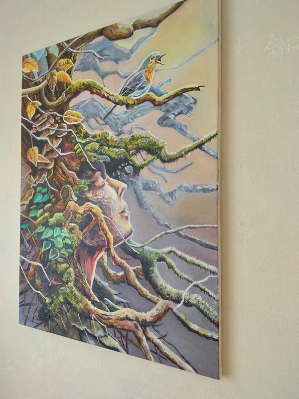 "Картина маслом ""Лесная нимфа"" холст 60х80 см"