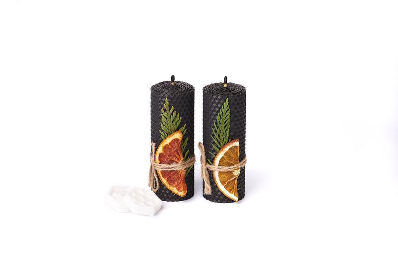 Натуральные подарочные свечи из пчелиного воска.Гипоалергенные. Свечи черного цвета из вощины