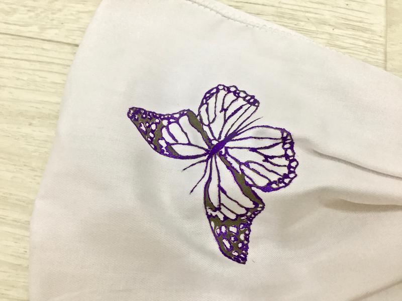 біла бандана/ розпис метелики/батік/літні аксесуари для волосся/ексклюзивні подарунки