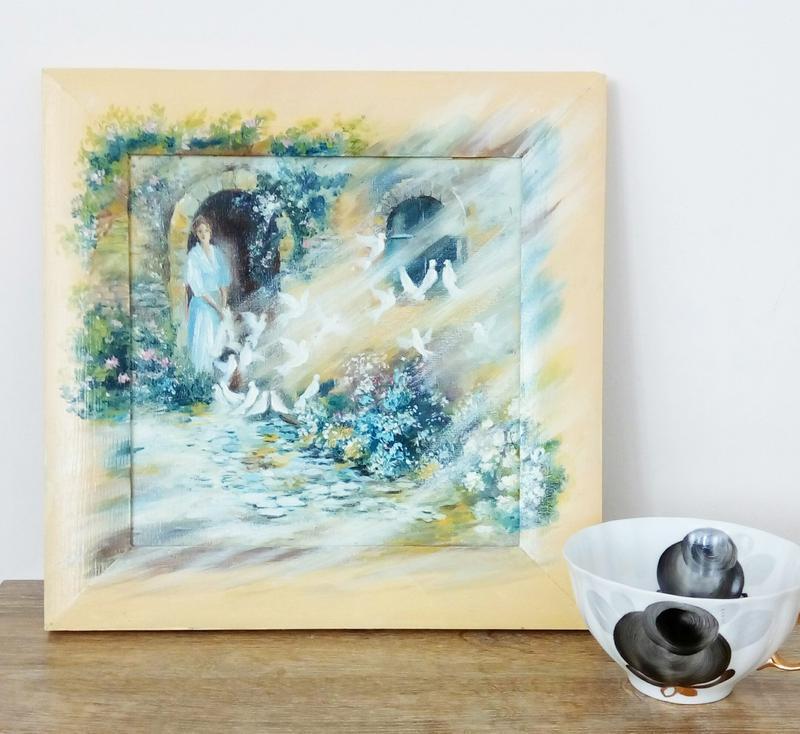 Живопись Картина маслом Голуби в несъемной раме