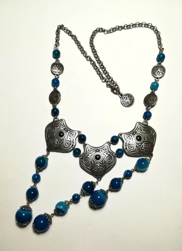 Колье этническое из Агата посеребрение, цвет оттенки синего, тм Satori \ Sk - 0050