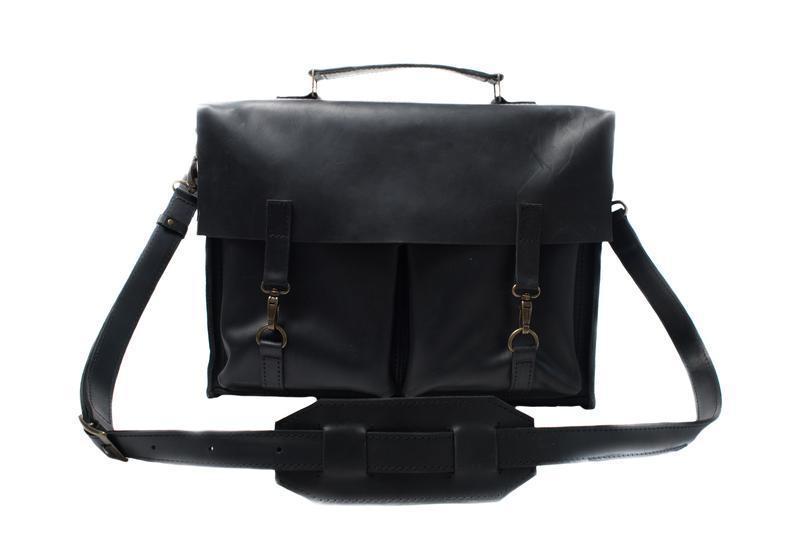 33ff12e72f3e Кожаный портфель на крючках. 07001/черный ручной работы купить в ...
