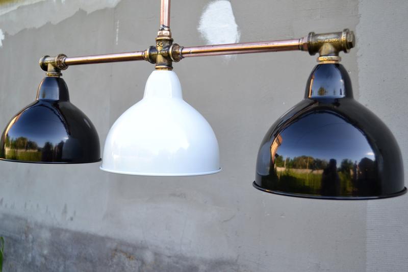 Подвесная лампа  из медной трубы.Индустриальное современное освещение.